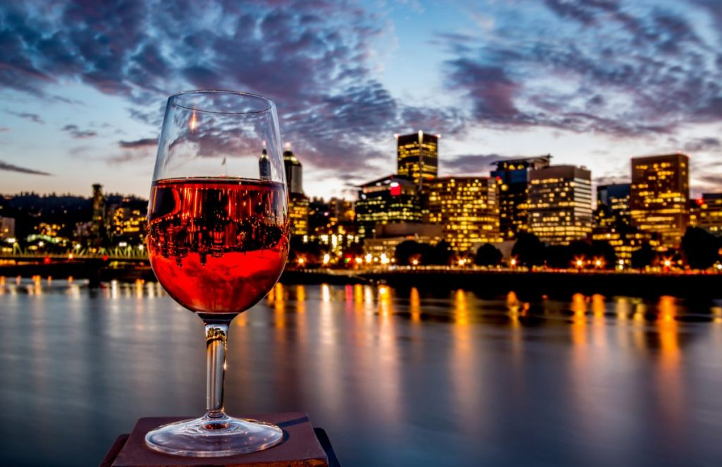 Rosé Wine Glass Riverfront Skyline Downtown Portland Oregon